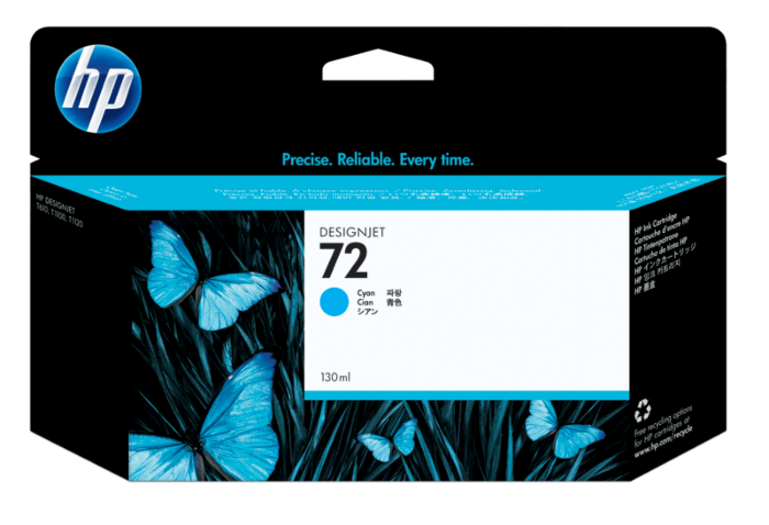 HP 72 High Capacity Cyan Ink Cartridge, 130ml
