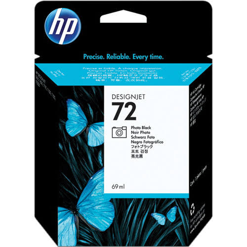 HP 72 Standard Capacity Photo Black Ink Cartridge, 69ml