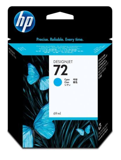 HP 72 Standard Capacity Cyan Ink Cartridge, 69ml