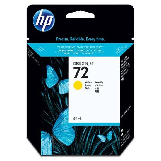 HP 72 Standard Capacity Yellow Ink Cartridge, 69ml