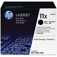 HP 11X Twin Pack High Capacity Balck Laser Toner Cartridges - Q6511XD