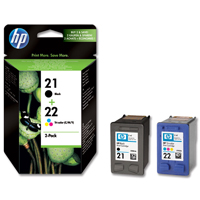 HP No. 21 Black and No. 22 Colour Ink Cartridges