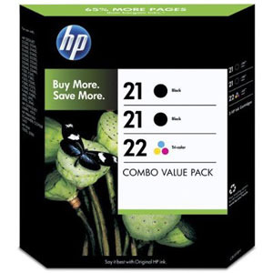 HP No. 21 Twin Black plus No 22 Ink Cartridges SD400A