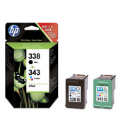 HP 338 Vivera Black and 343 Vivera Colour Ink Cartridges
