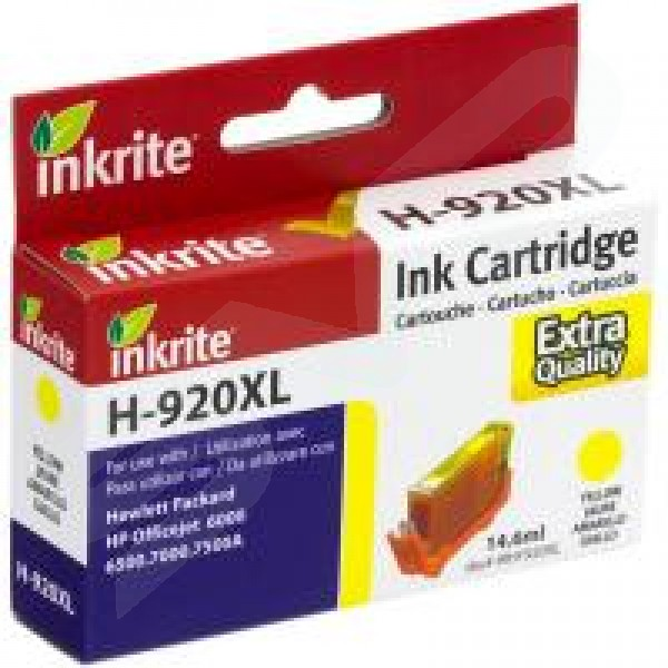 Inkrite Compatible 920XL Yellow Ink Cartridge for HP CD974A