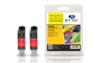 JettecK30BX2 Replacement Twin Pack Black Ink Cartridges (Alternative to Kodak 30 3952330)