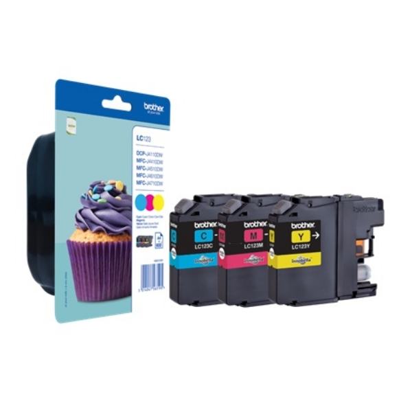 Brother LC123 Multipack Cyan, Magenta and Yellow Ink Cartridges (LC-123C / LC-123M / LC-123Y)