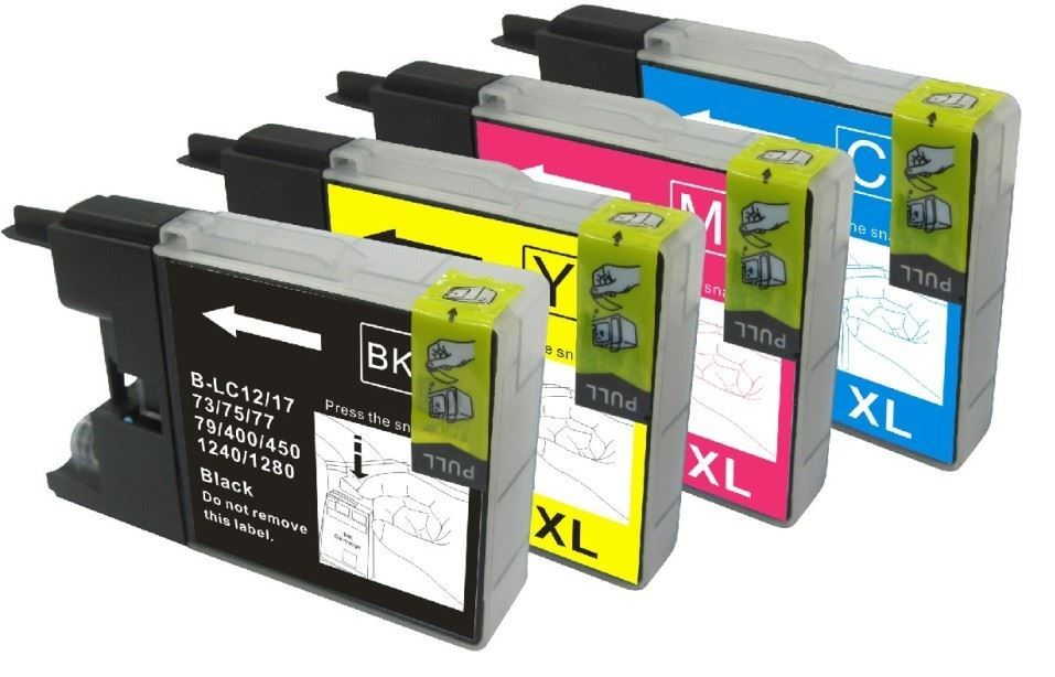 Premium Quality Compatible Quad Pack Black, Cyan, Magenta, Yellow Ink Cartridges for LC1240, 87ml