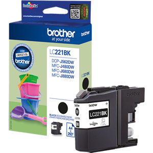 Brother LC221BK Black Ink Cartridge - LC-221BK Inkjet Printer Cartridge