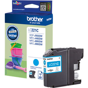 Brother LC221C Cyan Ink Cartridge - LC-221C Inkjet Printer Cartridge