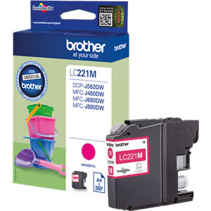 Brother LC221M Magneta Ink Cartridge - LC-221M Inkjet Printer Cartridge