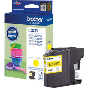 Brother LC221Y Yellow Ink Cartridge - LC-221Y Inkjet Printer Cartridge