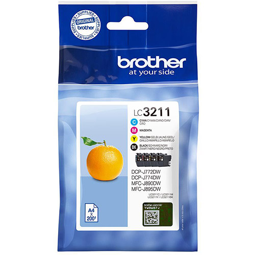 Brother LC3211 Four Pack Ink Cartridges Multipack (LC3211BK/LC3211C/LC3211M/LC3211Y)