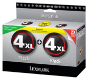 Lexmark High Capacity Twin Pack No 4XL Black Ink Cartridges - 0080D2977