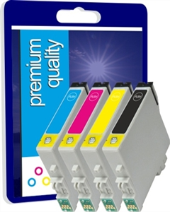 Premium Quality High Capacity Compatible Quad Pack Black, Cyan, Magenta, Yellow Ink Cartridges for T299640, 64ml