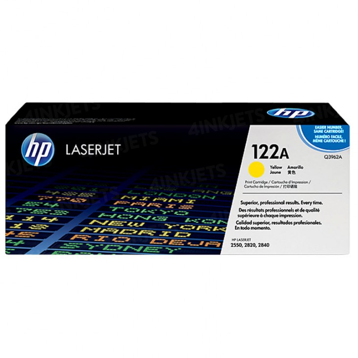 HP Original Q3962A Yellow Laser Toner Cartridge (122A)