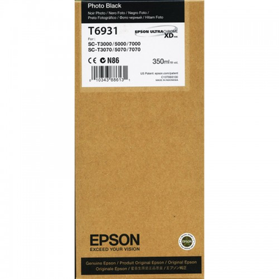Epson T6931 UltraChrome XD Photo Black Ink Cartridge - 350ml