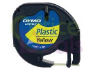S0721620: Dymo Letratag Plastic Tape 12mm x 4 Metres Black on Yellow S0721620