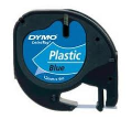 S0721650: Dymo Letratag Plastic Tape 12mm x 4 Metres Black on Blue S0721650