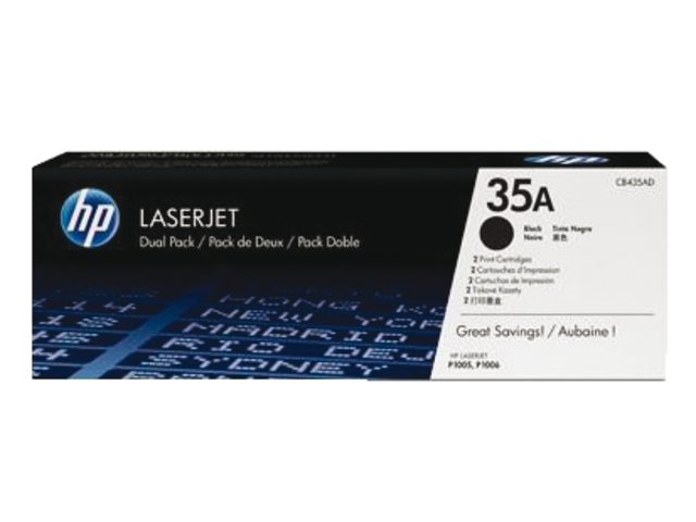 HP LaserJet 4 CB435AD HP CB435AD Twin Pack Black (35A) Toner Cartridges - CB 435AD