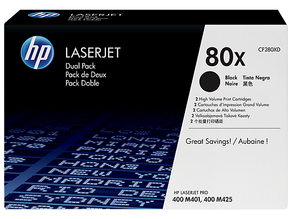 HP LaserJet 4 CF280XD HP 80X Twin pack High Capacity Black Toner Cartridges - CF280XD
