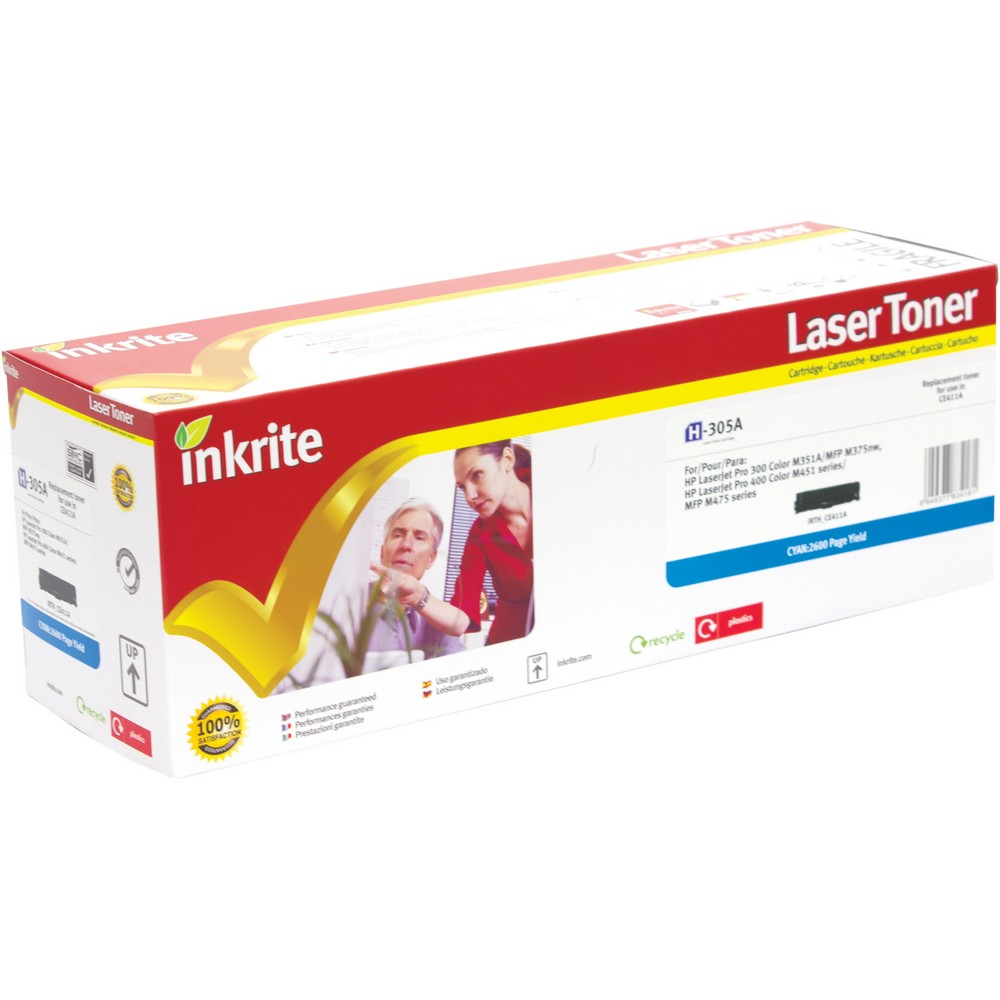 HP LaserJet 4 H-411A Inkrite Premium Quality Compatible Cyan for HP CE411A (305A) Laser Cartridge, 2.6K Page Yield