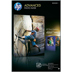 Q8008A: HP Advanced Glossy Photo Paper, 4x6, 100x150mm, 250g/m2, 60 Sheets