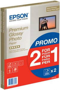 S042169: Epson Premium Glossy Photo Paper, A4 Size, 15 Sheets, Buy One Get One Free