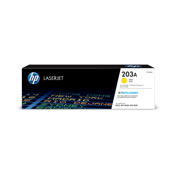 HP LaserJet 4 CF542A HP CF542A Yellow 203A Toner Cartridge - CF542A, 1.3K Page Yield