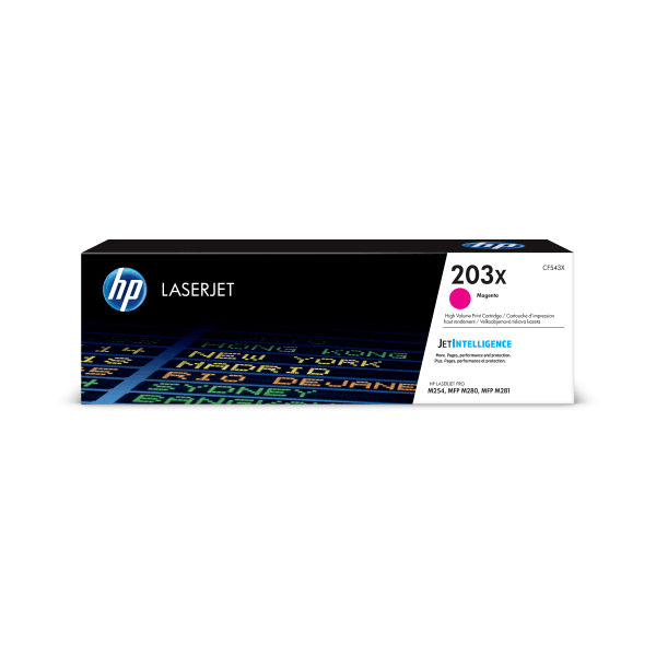 HP LaserJet 4 CF543X HP CF543X High Capacity Magenta 203X Toner Cartridge - CF543X, 2.5K Page Yield