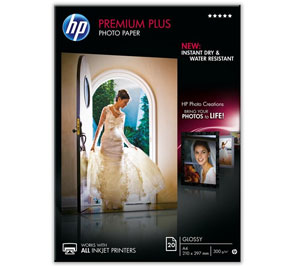CR672A: HP Premium Plus Glossy Photo Paper, A4 Size, 300gms, 20 Sheets