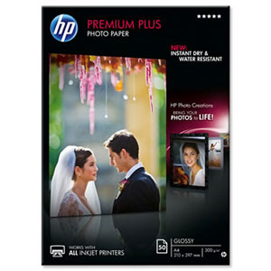 CR674A: HP Premium Plus Glossy Photo Paper, A4 Size, 300gms, 50 Sheets