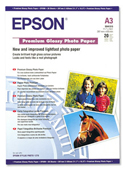 S041315: Epson S041315 Genuine Premium Glossy Photo Paper A3, 20 Sheets