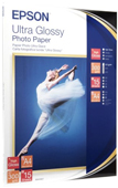 S041927: Epson Genuine Ultra Glossy Photo Paper, 15 Sheets, A4, 15 Sheets