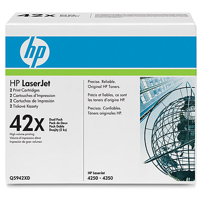 HP LaserJet 4 Q5942XD HP 42X High Capacity Dual Pack 5942XD Laser Toner Cartridge