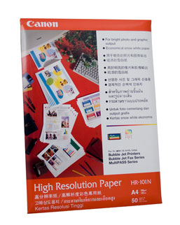 HR-101A4: Canon Genuine High Resolution Paper A4 - 106gsm - 50 Sheets