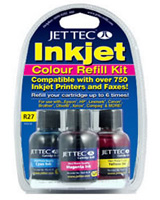 R27: Jet Tec All Purpose Colour Refill Kit (C/M/Yx30ml and 1x30 Cleaner)