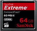 SDCFX-064G-X46: SanDisk 64GB Extreme Compact Flash Memory Card, 60MB/s