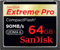SDCFXP-064G-X46: SanDisk 64GB Extreme Pro Compact Flash Memory Card - 90MB/s