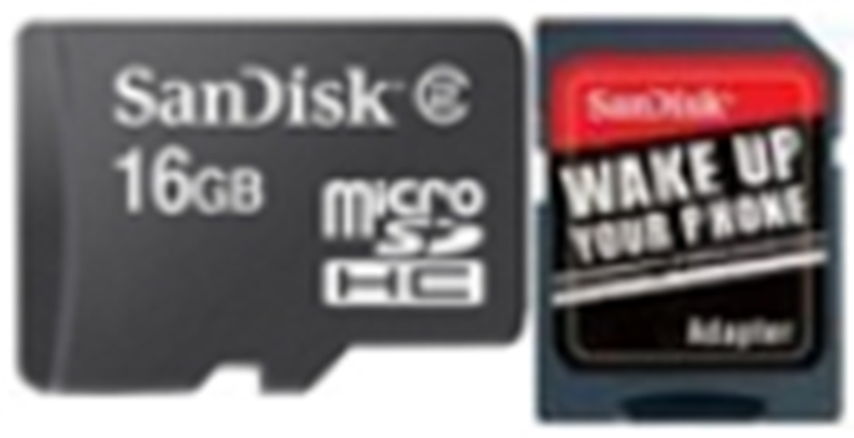 SDSDQB-016G-B35: SanDisk Micro SD Memory Card - 16GB with SD Adapter
