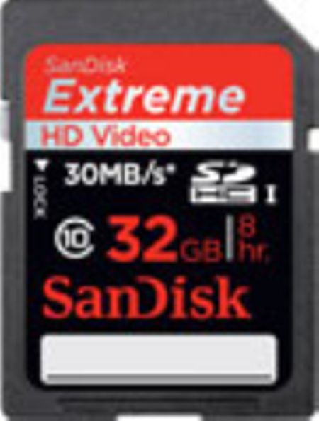 SDSDX-032G-X46: SanDisk 32GB SDHC Extreme HD Video Memory Card - 45MB/s
