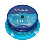 43432: Verbatim CD-R 25 Discs per Spindle, 52x, 700MB