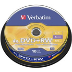 43488: Verbatim DVD+RW 10 Discs per Spindle, 4x, 4.7GB