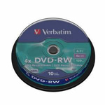 43552: Verbatim DVD-RW 10 Discs per Spindle, 4x, 4.7GB
